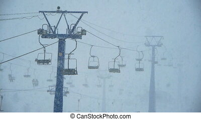 heavy snow on ski resort