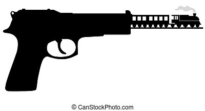 Bullet train - Illustration of a gun with a train travelling...