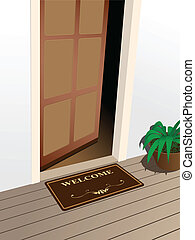 welcome - vector welcome mat on the porch
