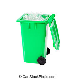 full green recycling bin with plastic isolated on white...