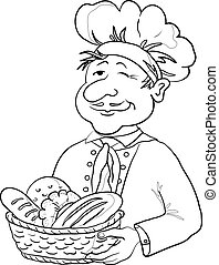 Baker with bread basket, contour - Cook - baker in a cap...