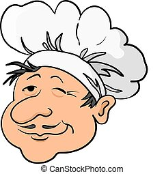 Cooks head in a cap - Head of the cook - chef in a cap,...