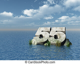 fifty five - the number fifty five at the ocean - 3d...