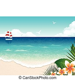Summer Beach - Panoramic illustration of the ocean, with...