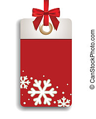 Winter Sales Tag - Red sales tag with winter motives and...