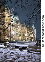 The New Town City Hall Hanover - Winter view of Neus Rathaus...