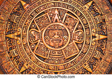 Aztec calendar - A close-up view of a aztec calendar