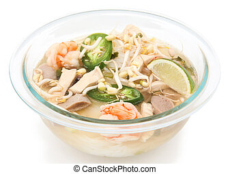 Close Up Of Vietnamese Pho Noodles On White Background