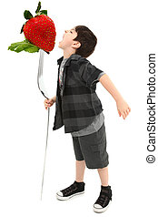Boy Eating Giant Strawberry on Giant Fork with Clipping Path...
