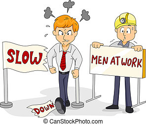 Funny Slow Down - Illustration of a Man Walking Past Through...