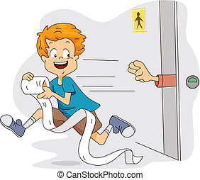 Toilet Paper Thief - Illustration of a Kid Stealing Toilet...