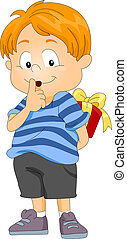 Secret Present - Illustration of a Boy Hiding a Present