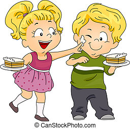 Kids Playing with Icing - Illustration of Kids Playing with...