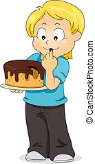 Kid Tasting Cake - Illustration of a Boy Tasting a Cake