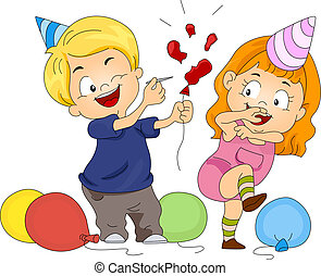 Birthday Balloon Pop - Illustration of a Boy Piercing a...