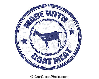 made with goat meat stamp - grunge office rubber stamp with...
