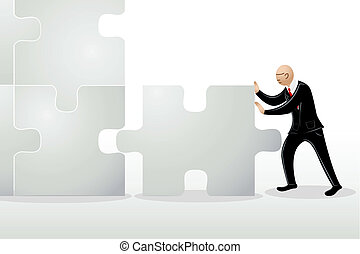 Business Man Pushing Jigsaw Puzzle