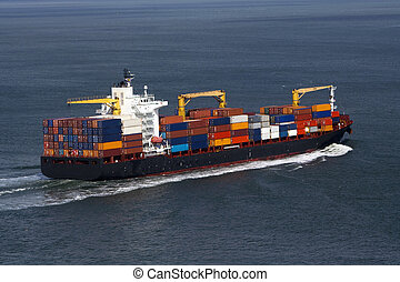 View of the container cargo ship - container cargo ship...