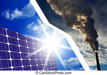 solar cells instead of fossil fuels - The concept of solar...