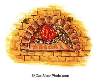 Old oven isolated on white background, gouache illustration.