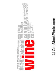word wine relevant tag cloud isolated on white background -...