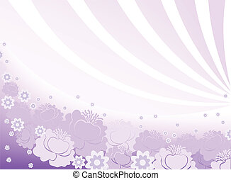 horizontal purple background with flowers and arcs