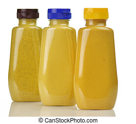 mustard - plastic bottles of honey ,dijon and spicy brown...