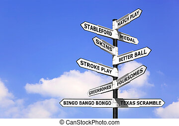 Golf competition signpost - Concept image of a signpost with...