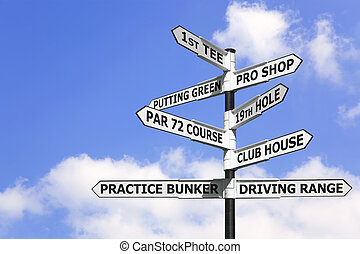Golf course signpost - Concept image of a signpost with golf...
