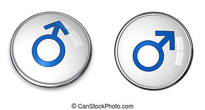 Button Blue Male Symbol
