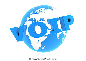 VoIP Around the World - Glossy Blue - blue glossy word VoIP...