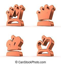 四, 皇家,  -, 王冠, 青銅