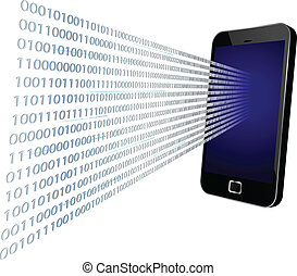 Binary coming through mobile screen - 3D vector illustration...