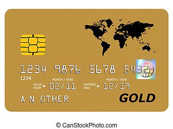 Bank gold card mock up isolated on white. - Everything on...