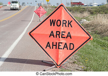 Roadside Work Ahead Signs - Road-side signs warning...