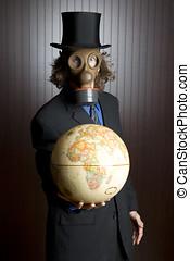 man, gas mask, and globe
