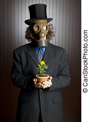 man, gas mask, and flower