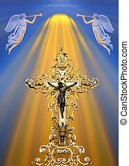 Golden cross - Divine light on christian cross with angels...