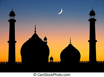 Delhi Mosque at dusk - Silhouette of great mosque of Old...
