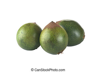 Fruit called Lucuma (lat. Pouteria lucuma) grown in the Andean region of Peru, which is very popular in Peru (Isolated on White)
