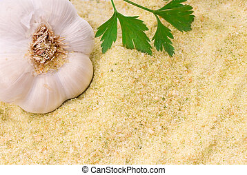 breadcrumbs with garlic and parsley - background of...