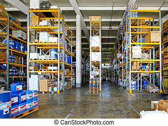 Big warehouse with chemical material in barrels