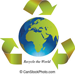 Recycle the World - Green arrows around the world indicating...