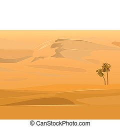 vector of a desert landscape - two palm trees against a...