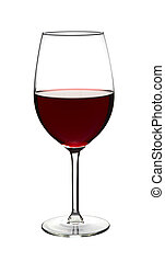 Red wine in wine glass on white