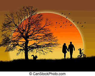 Lovers on sunset - Lovers in a park under sunset, vector...