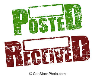 Posted and received stamps - Grunge rubber stamps with words...