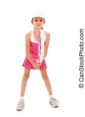 Girl Child Tennis Player with Clipping Path - Adorable eight...