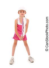 Recorte, tenis, jugador, niño, Trayectoria, niña
