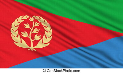 Eritrea Flag, with real structure of a fabric